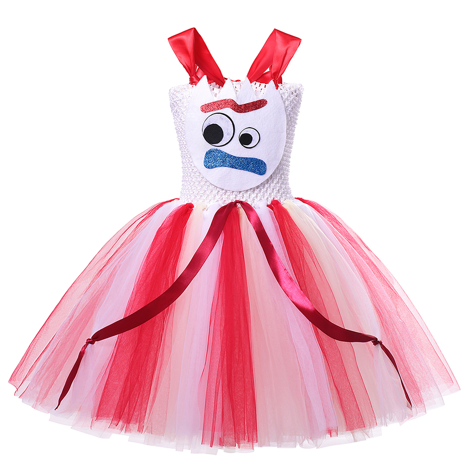 Girls Toy Story 4 Forky Cosplay Dress Woody Jessie Makeup Tutu Baby Girl Cartoon Role Playing Halloween Buzz Lightyear Costumes 5