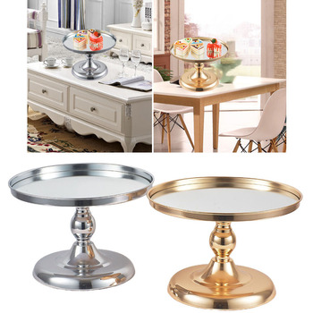 Metal Cake Stand Round Wedding Dessert Cupcake Party Snacks Pedestal Display white crystal metal cake stand set cupcake rack dessert display holder party wedding table decorations