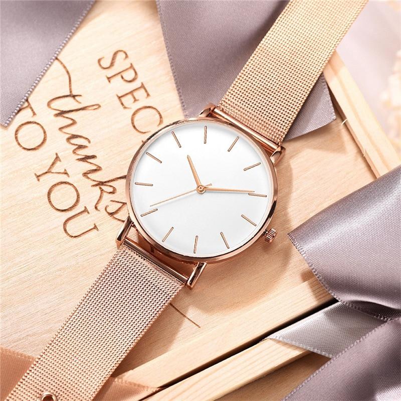 Fashion Casual Watch Womens Metal Hour Reloj Mujer Quartz Wristwatch Simple Montre Femme Mesh Black Stainless Steel Bracelet saa 2