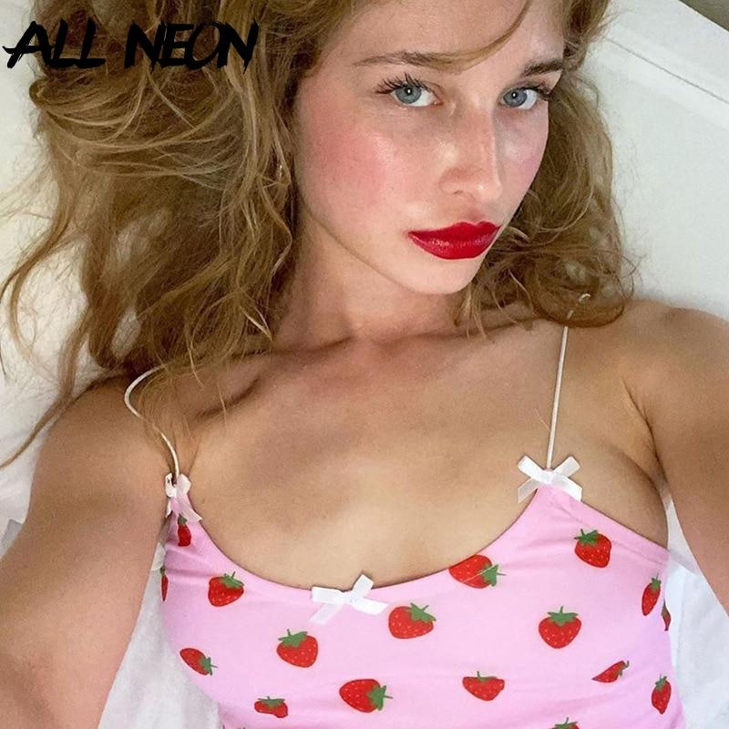 ALLNeon Kawaii Pink Cropped Camis Tops Spaghetti Strap Strawberry Print Summer Crop Tops For Women Vintage Sweet Ladies Tanks