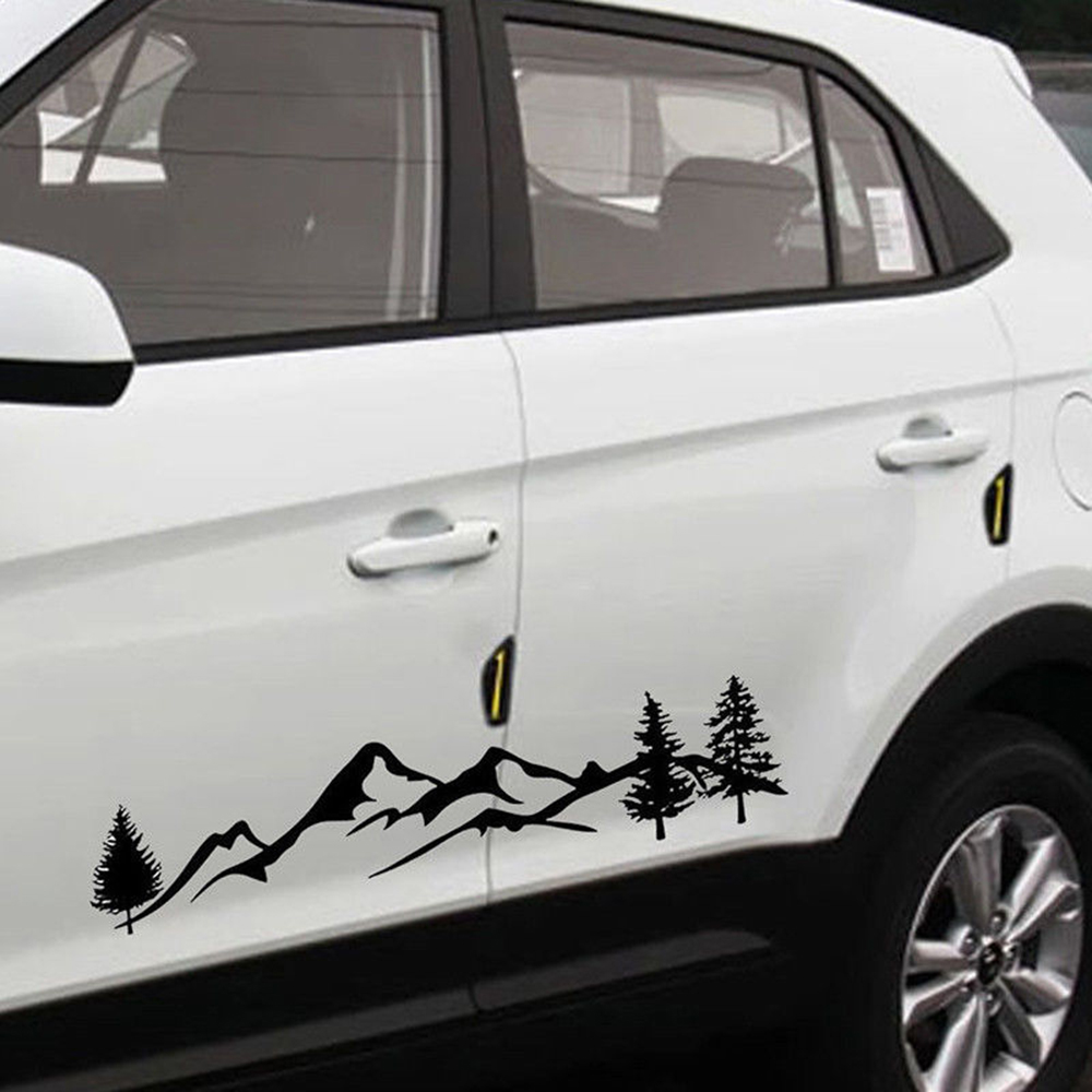 Tree Mountain Car PET Sticker Decor Auto Decal SUV RV Camper Offroad Sticker Waterproof Auto Decoration Accessories(China)