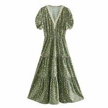 2020 women lace crochet v neck printing split midi dress ladies pleated puff sleeve vestidos chic vacation style dresses DS3455