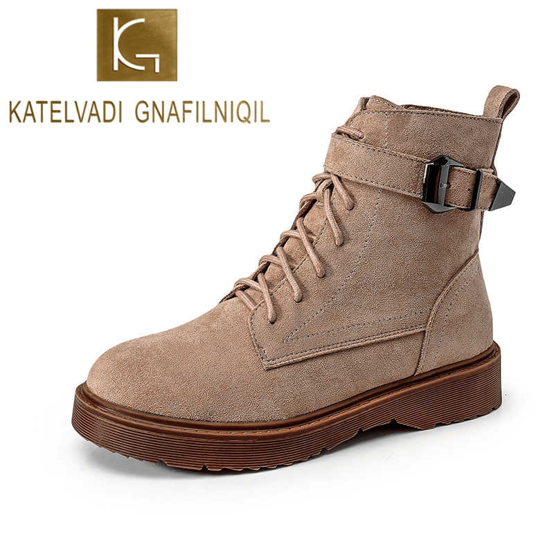 KATELVADI Vintage Classic Winter Ankle Boots Women Flock Thick Heel Buckles Motorcycle Lady's Shoes 35-43 K-534