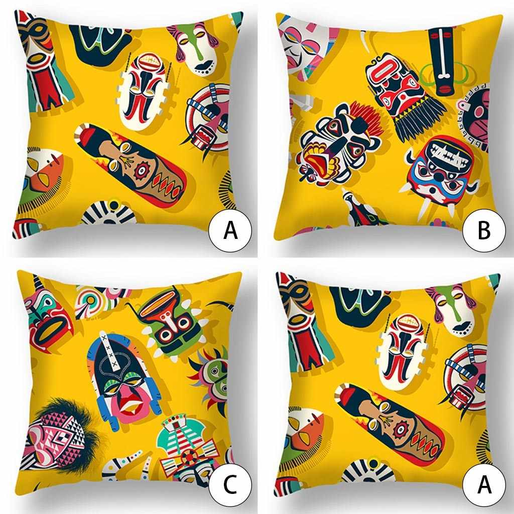 Moderna funda de almohada cuadrada de lino y algodón con estampado de dibujos animados de búho y gato, moderna funda de cojín
