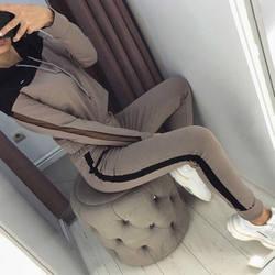 Лоскутная Толстовка с капюшоном и спортивные штаны спортивный костюм для женщин 2019 осень повседневные женские спортивные костюмы зима 2 шт