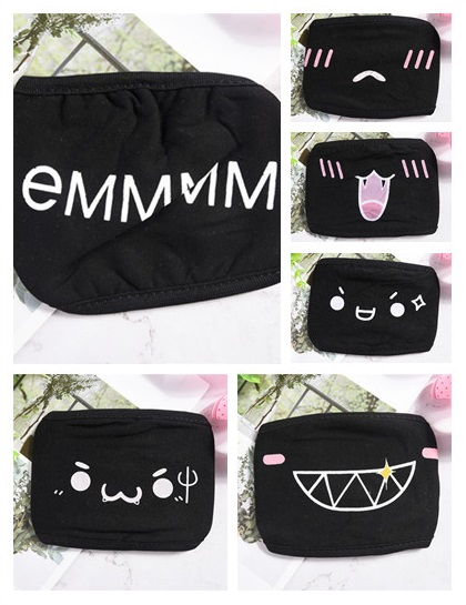 1pc 32 Style Cartoon Funny Teeth Letter Mask Unisex Black Cotton Half Mouth Mask Anti-bacterial Dust Winter Warm Cute Face Masks