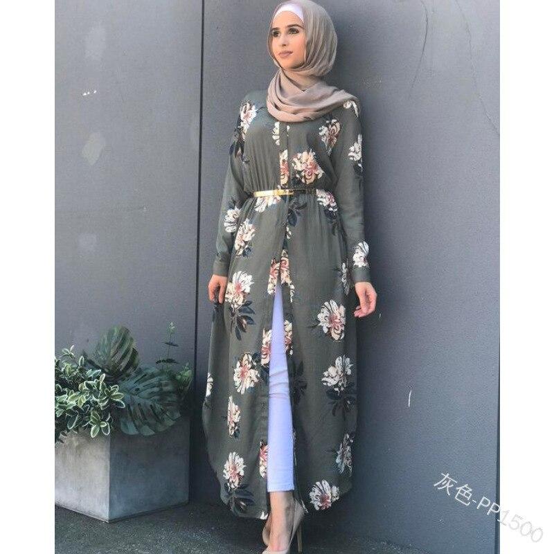 Women floral printed belted robe long Sleeve maxi Dress plus size Eid Ramadan kaftan gown Islamic muslim abaya Jubah Djellaba