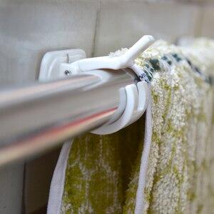 Image 4 - 1set Selbstklebende Vorhang Stangen halterung Weiß Aufhänger Querlatte Clips Wand Haken organizer schienen rack home storage
