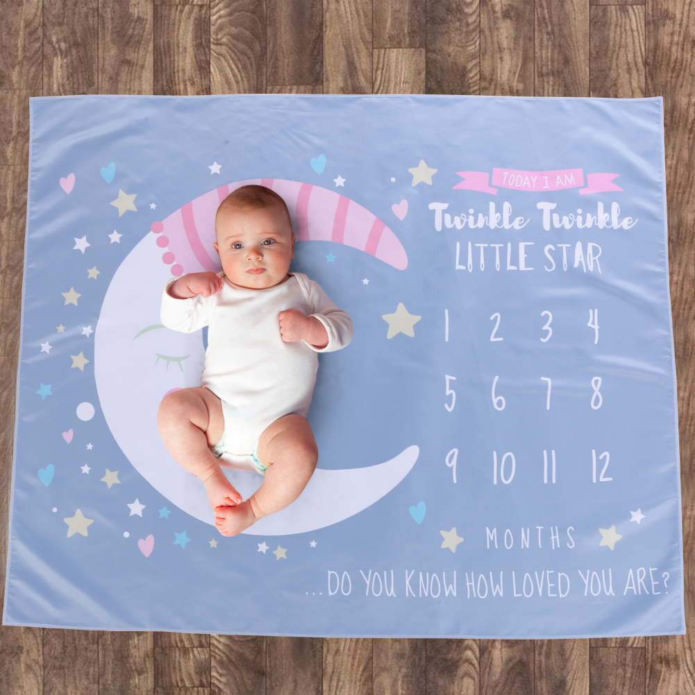 Baby Cartoon Moon Little Stars Printed Newborn Baby Photography Blanket Props Blanket With Wide Scope Simplicity Balloon Print