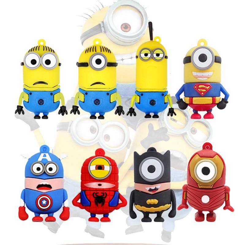 Cartoon Pen Drive Super Hero Minions Usb Flash Drive 64gb 32gb 16gb 8gb 4gb Funny Minions Memory Stick Pendrive