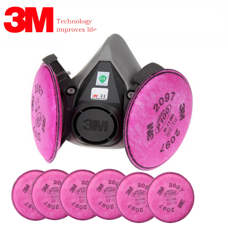 3M 6200 With 2097 Dust Respirator Dust Polishing And Cutting Fiber Welding Fume Organic Gas Activated Carbon Antivirus Mask