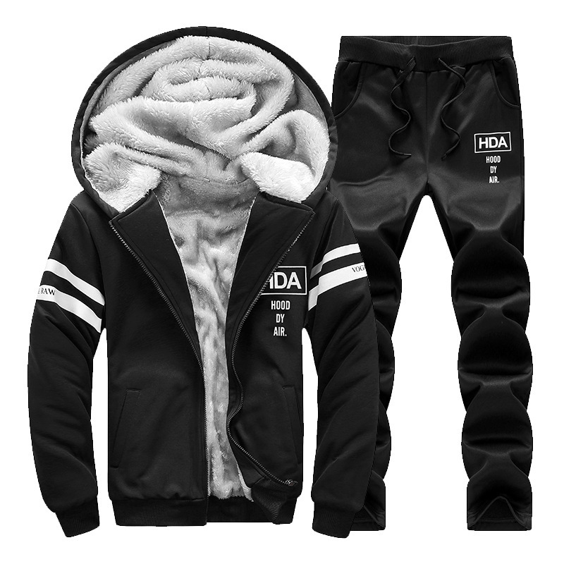 2018 Winter New Style Plus Thick Velvet Suit Men's Korean-style Handsome Cardigan Hooded Sports Hoodie Two-Piece Set