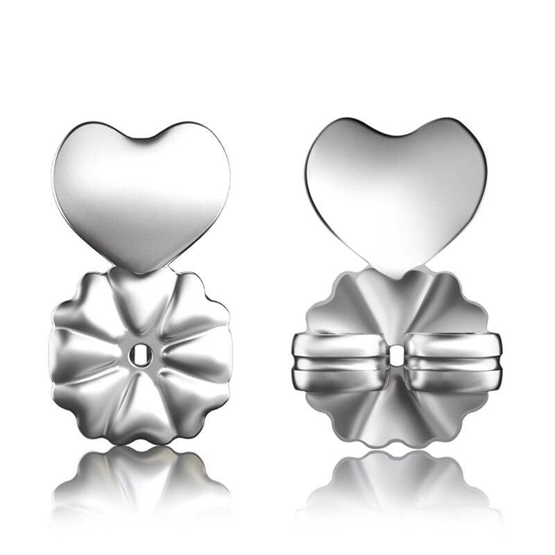 Ms Betti New Fashion S925 Sterling Silver Heart Earring Backs Support Hypoallergenic Earrings Lift Lifters Fits All Post Earring
