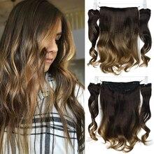 DinDong, 18 дюймов, невидимая проволока, волосы для наращивания, синтетические, волнистые, 3 штуки, заколки для наращивания, натуральные волосы на заколках