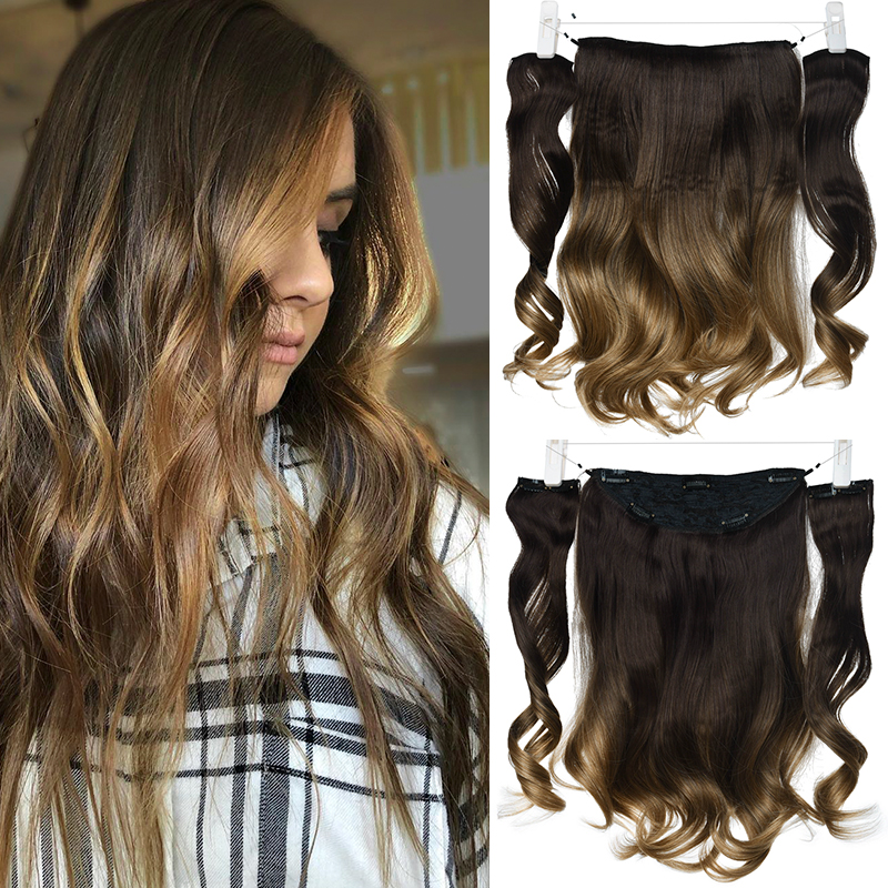 DinDong 18 Inch Invisible Wire Hair Extensions Synthetic Wavy 3 Pieces Fish Line Clips In Hair Extensions Natural Hair Clips
