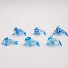 6pcs handmade murano glass Dolphin figurines home aquarium decoration ornaments accessories art miniature Marine Animals statues