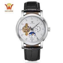 Tourbillon Mechanical Men Wristwatches Clock Fashion Silver white automatic self winding men