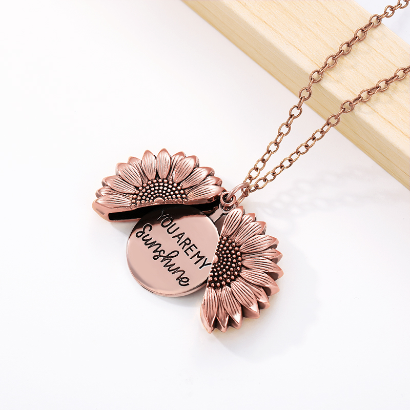 Hc85d929cf7d54e86b86c948f4d31aadce - You Are My Sunshine Sunflower Necklaces For Women Rose Gold Silver Color Long Chain Sun Flower Pendant Necklace Fashion Jewelry
