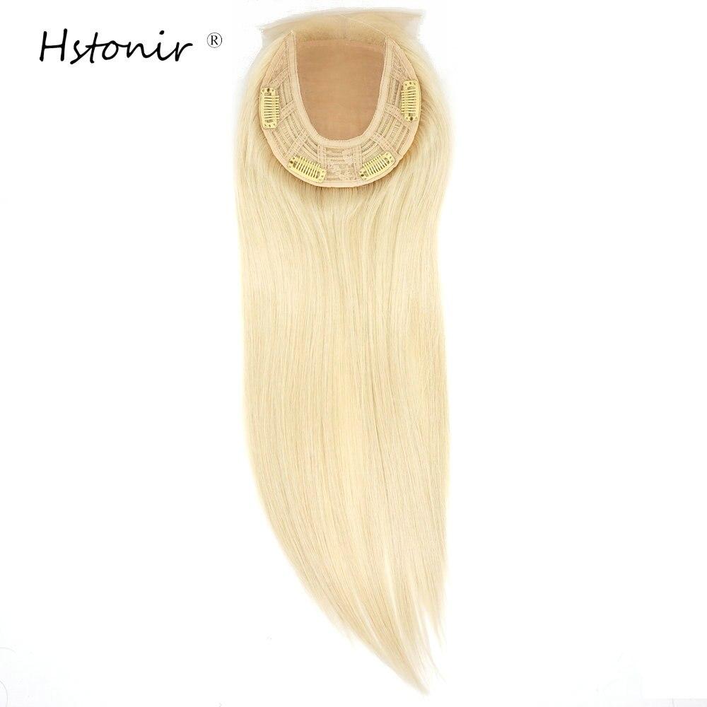 Hstonir Lace Front Jewish Topper Clip European Remy Hair For Women Silk Top Hairpiece Blond 613# Kosher TP32