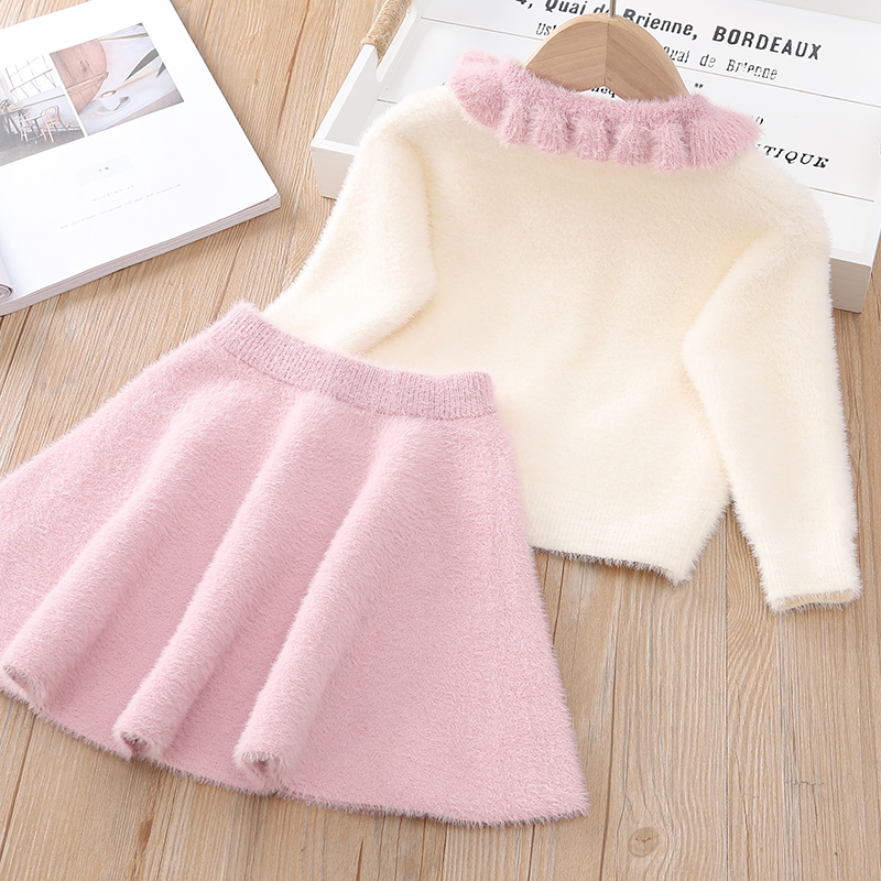 Hc85db78dca2341f2b94bb3e3822f0994k Bear Leader Girls Dress 2019 Winter Geometric Pattern Dress Long Sleeve Girls Clothes Top Coat+ Tutu Dress Sweater Knitwear 2pcs