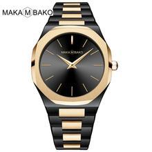 Japonia ruch wysokiej jakości wodoodporna stal nierdzewna Top damski luksusowej marki 2020 nowe złote czarne kwadratowe zegarki damskie