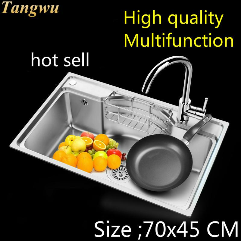 Free Shipping Hot Sell  Kitchen Single Trough Sink Wash The Dishes Fashion Standard Durable  Food Grade Stainless Steel 70x45 CM