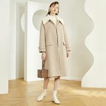 Winter High-End Vrouwen Elegante Mid-Lengte Wollen Jas Vrouwelijke Mode Brede Taille Jas Winter Enkele Breasted riem Wollen Jas