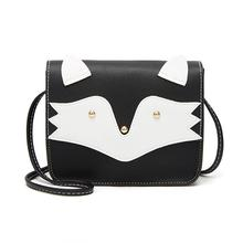 Women PU Leather Flap Crossbody Bag Cute Cartoon Cat Mini Gi