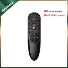 Q6 sem fio ir aprendizagem ar mouse giroscópio 7 cores led retroiluminado 2.4g inteligente google assistente de voz controle remoto