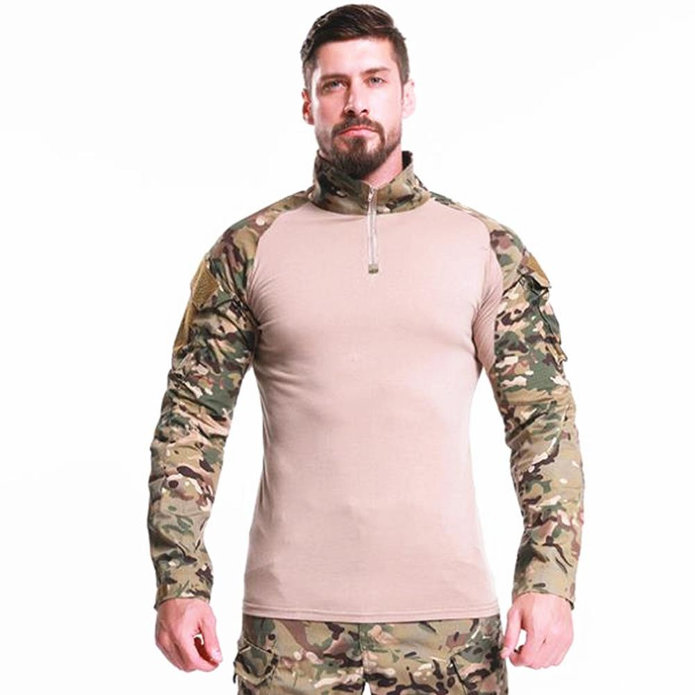 Men Thicken Long Sleeve Outdoor Training Tops Breathable Camouflage Army Tactical Shirts Camping Hiking  Military Tees T-shirt