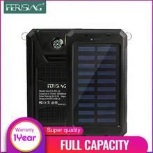 (100% capacité) étanche batterie portable solaire 10000mAh double USB externe polymère chargeur de batterie extérieure lampe lumière Powerbank