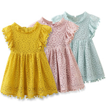 Girls Dress 2019 New Summer Brand Girls Clothes Lace And Flower Design Baby Girls Dress Kids Dresses For Girls Casual Wear 3 8 Y 2017 brand new girl dress winter kids clothes european and american style leaf pettern design for girls clothes 3 8y