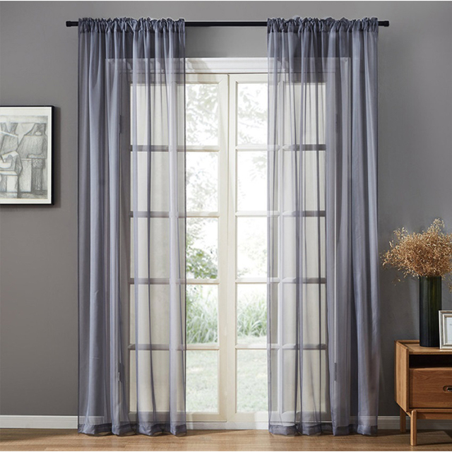 Modern Nordic Sheer Tulle Window Curtains Solid White Gray Black Screening Voile Drapes Living Room Home Decor Furniture Cover 2