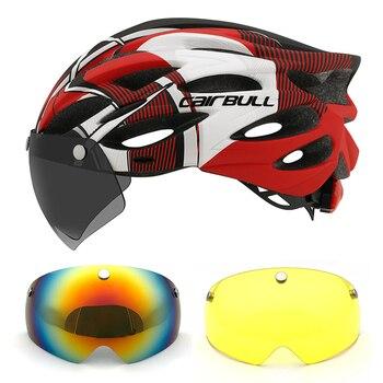 Com luz ciclismo capacete das mulheres dos homens capacete da bicicleta mtb capacete de ciclismo estrada segurança esporte ao ar livre leve viseira capacete 1