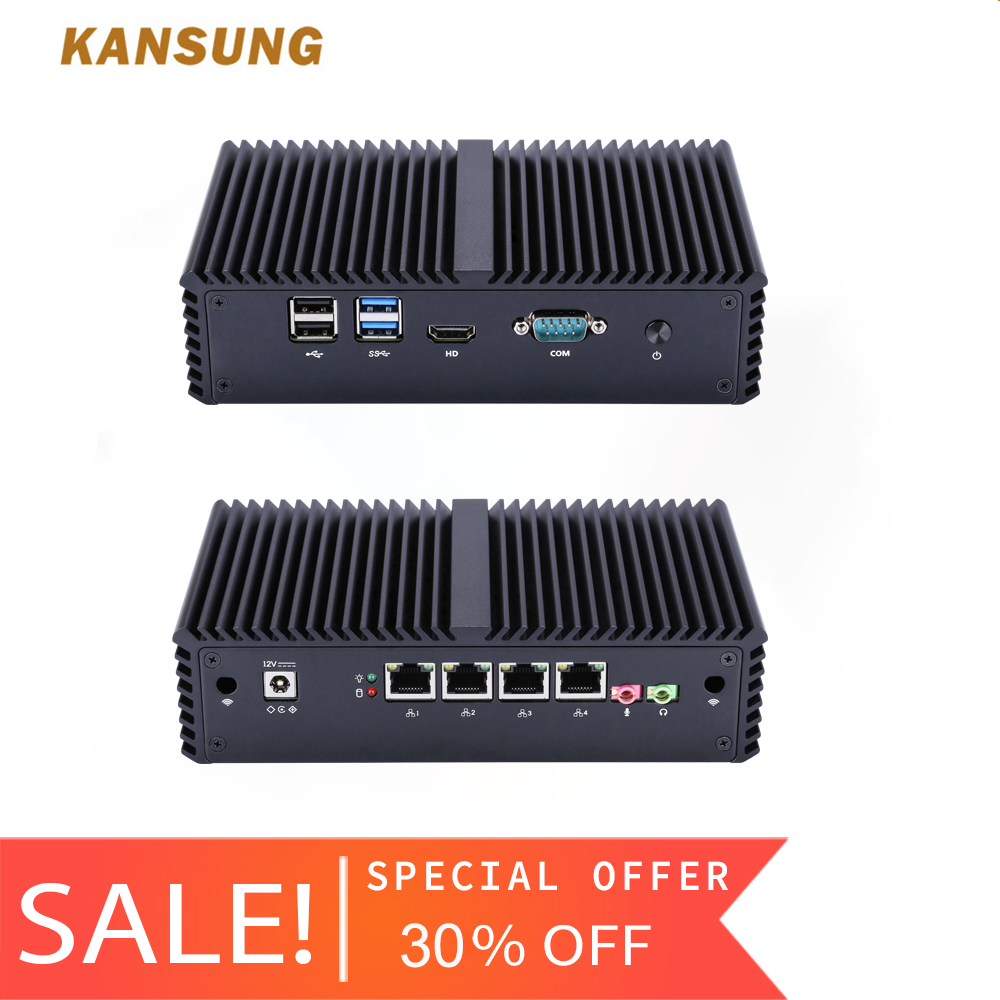 KANSUNG Intel Core i5-4200Y AES-NI Minipc Nettop mince Client 4 Lan Ordinateur sans ventilateur pare-feu Windows 10 OPNsense Mini PC