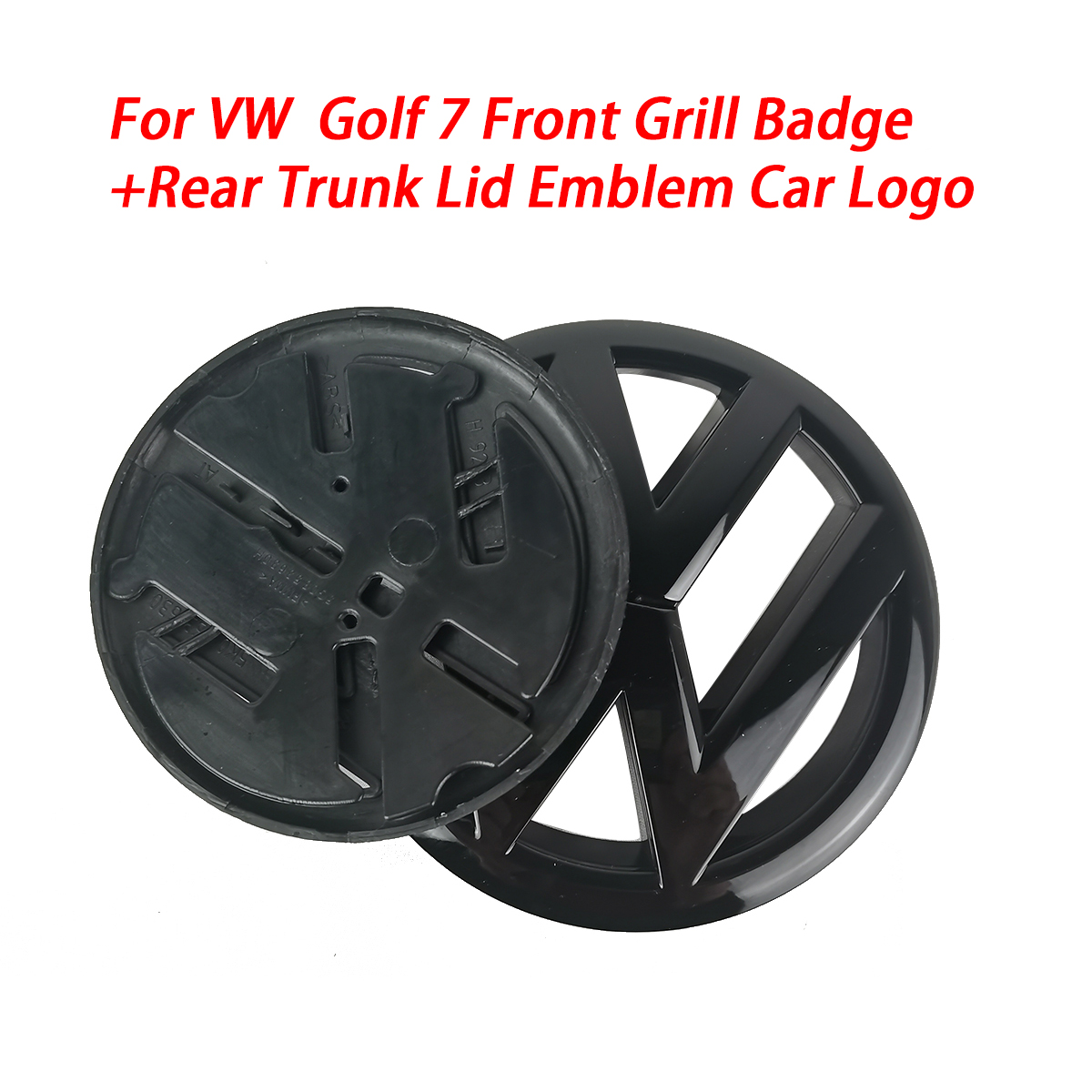 Gloss preto 135mm frente grill distintivo + 110mm tronco traseiro tampa emblema logotipo do carro apto para vw volkswagen golf mk7 todos os modelos 2013-2017