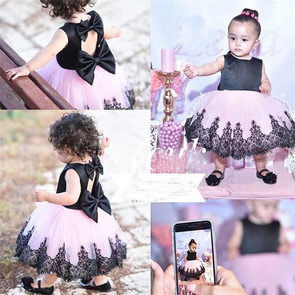 1 6Years Toddler Baby Kid Girls Princess Dress Black Bow Lace Tulle Tutu Party Wedding Birthday Dresses For Girls Costumes in Dresses from Mother Kids
