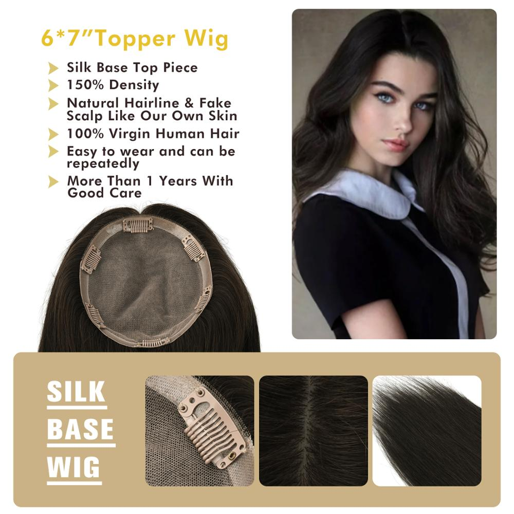 "MW Remy Human Hair Topper Wig 6*7"" Silk + PU Base 6 Clips In Straight Fake Scalp Virgin Cuticle Real Hair Top Pieces For Women"