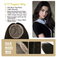 """MW Remy Human Hair Topper Wig 6*7"""" Silk + PU Base 6 Clips In Straight Fake Scalp Virgin Cuticle Real Hair Top Pieces For Women"""