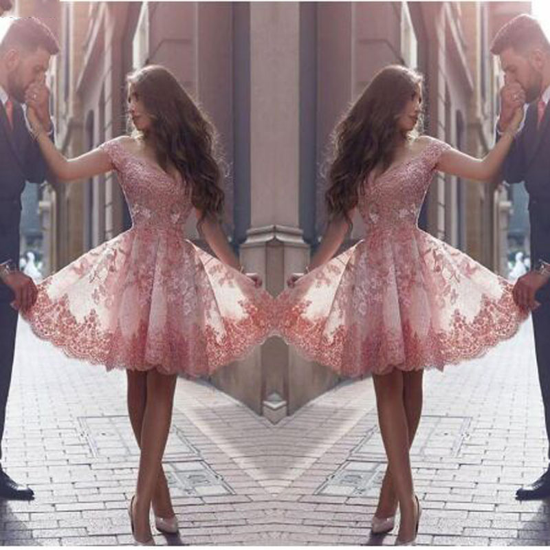 Pink Lace Appliques Off-shoulder A-line   Cocktail     Dresses   Sleeveless Sweetheart Neck Mini Party Gown октейльное платье