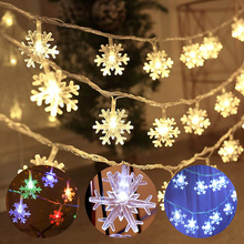 Christmas Tree Lights LED Snowflake 10ft 20 LED 20ft 40 LED Fairy Lights String Lights Battery Operated Twinkle Lighting D30 cheap BR LIGHT CN(Origin) 1 Year Plastic LED Bulbs None Other Dry Battery 300-600cm 1-5m White MULTI Warm White 20-50 head 770699