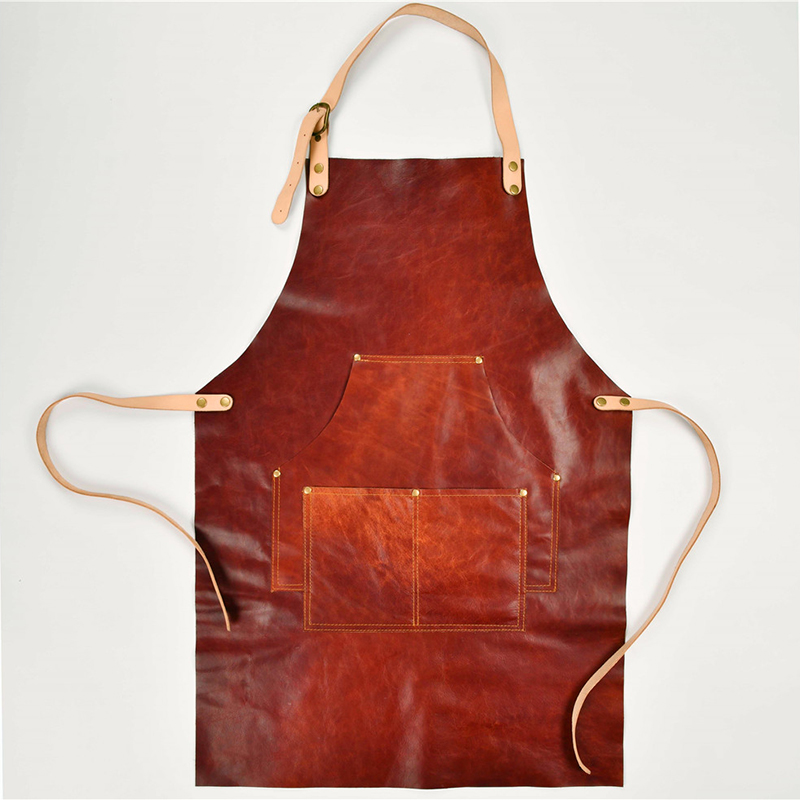 Genuine Cowhide Leather Apron Vintage Canvas Work Shop Aprons With Pockets Artisan Gardener Coffee Restaurant Cooking Men Unisex image