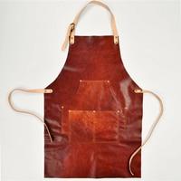 Genuine Cowhide Leather Apron Vintage Canvas Work Shop Aprons With Pockets Artisan Gardener Coffee Restaurant Cooking Men Unisex