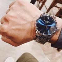Saatler'ten Mekanik Saatler'de Resif kaplan/RT tasarımcı Casual saatler otomatik iş saatler erkekler paslanmaz çelik saatler tarih RGA823