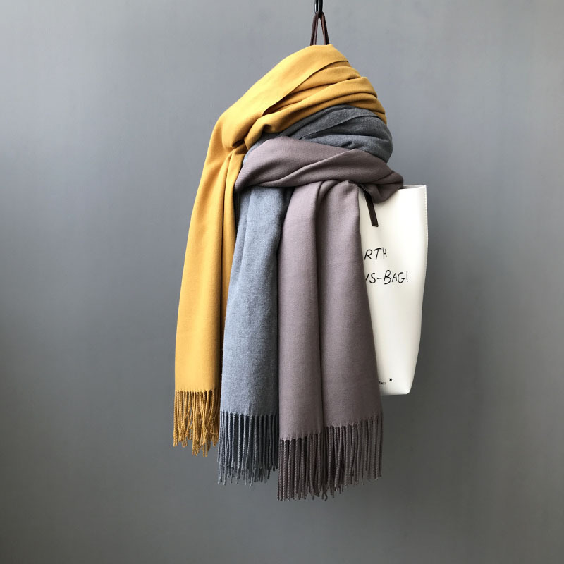 2019 New Women Autumn Winter Scarf Warm Pure Color Cashmere Scarves Wide Long Ladies Scarf Brown Color Soft Scarf Pashmina
