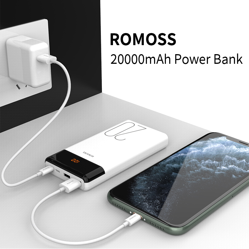 20000mAh ROMOSS LT20 Power Bank Dual USB Powerbank External Battery With LED Display Fast Portable Charger For Xiaomi For iPhone 5