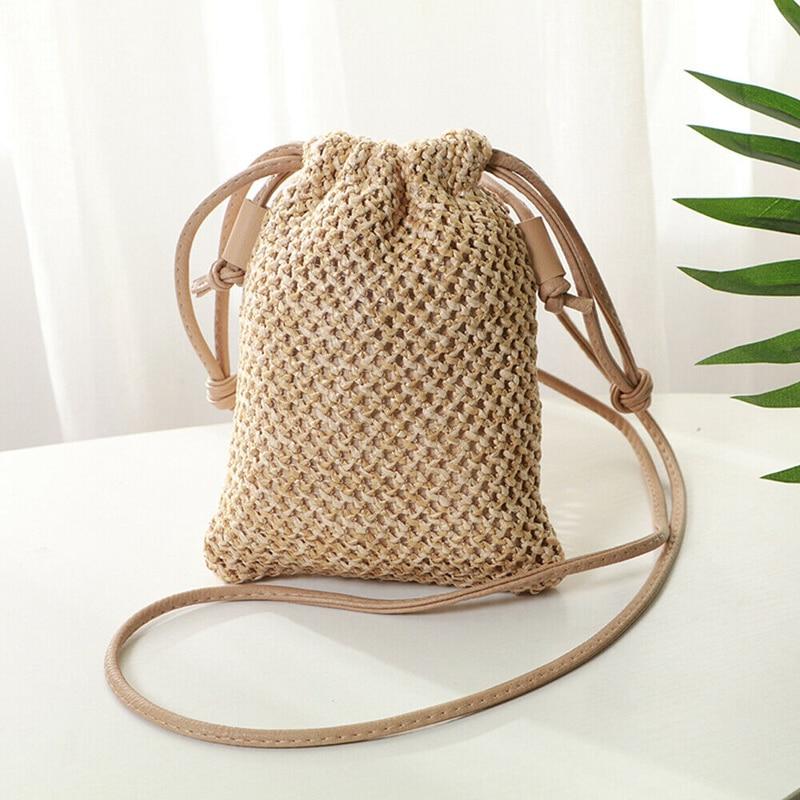 2019 New Style Women Girl Bohemian Straw Woven Bag Rattan Wicker Handbag Beach Crossbody Bags  Beach Bag Drawstring Bags