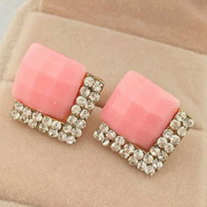 2019 New Candy Color Crystal Gem Square Stud Earrings For Women Elegant Rhombus oorbellen Luxurious Lady Brinco Wedding Jewelry