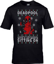 Pria Lucu Deadpool Natal T-shirt Jolly Red Suit(China)