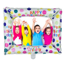 1pc/2pcs Happy Birthday Photo Frame Foil Balloon for Birthday Party Kids Faovr Inflatable Balls Decoration Baby Shower Supplies6
